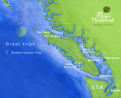 The Broken Group Islands Sea Kayaking Trip Area Map