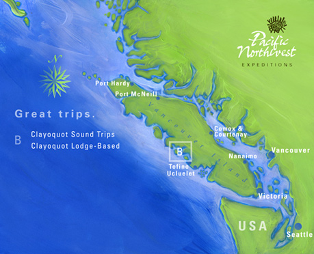 Clayoquot Sound Sea Kayaking Trips Area Map