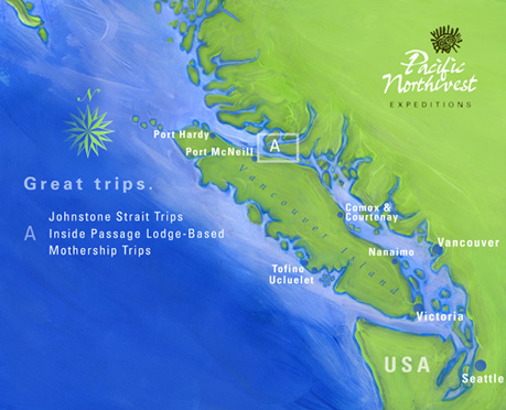 Johnstone Strait Sea kayaking with Killer Whales Trip Area Map